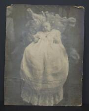 "Antique BABY PHOTO Long White Gown chair pillows Large 14""x11"" Victorian child"
