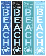 """Joanie 40"""" Vertical Porch Stencil Welcome Beach Crab Nautical Lake House Cabin"""