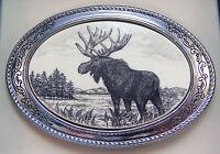 Belt Buckle Barlow Scrimshaw Carved Painted Art Moose Western Sliver 592609 NEW