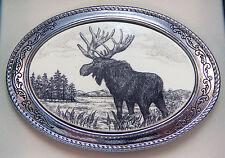 Belt Buckle Barlow Scrimshaw Carved Painted Art Moose Western Sliver 592609