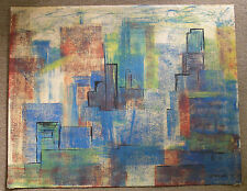 1950's style modernist city scape signed E. Reed chalk on canvas