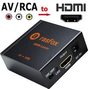 AV CVBS RCA Video Audio to HDMI Female Converter Adapter Box Upscaler 720P 1080P
