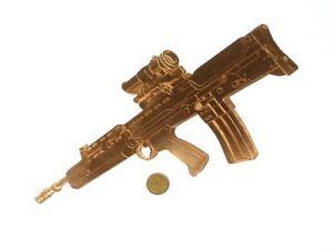 """Vintage Copper Plaque Engraved  Assault Rifle Gun Wall Decoration 11"""""""