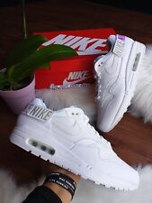 * SIZE 10 WOMEN'S NIKE AIR MAX 1-100 ALL WHITE AQ7826 100  RUNNING 90 95 270
