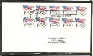 US SC # 2528a Flag And Olympic Rings  Booklet pane of 10 FDC. No Cachet