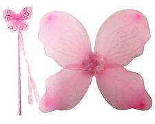 GIRLS PINK FAIRY WINGS WAND NATIVITY ANGEL BUTTERFLY FANCY DRESS HEN NIGHT XMAS