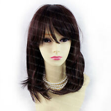 Natural Hair Soft Medium Long Black Brown Mix Dark Auburn Ladies Wig WIWIGS UK