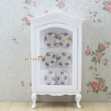 1:12 Dolls House Miniature Furniture White Arc roof Collection Counters Cabinet