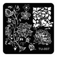Nail Art Stamping Plates Coquettish Lotus Flowers Design Nails Konad Plate TU07