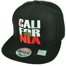 California Cali Bear Republic Hat Cap Snapback Flat Bill Golden State USA CA BLK