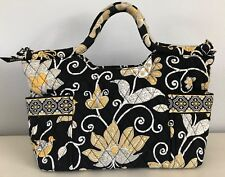 Vera Bradley Yellow Bird Tote Handbag Quilted Purse Yellow White Black 14 x 8.5""