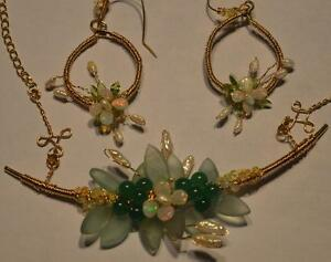 Collar Wedding Necklace Earrings Set Natural Real Opals Jade pearls 14k GF