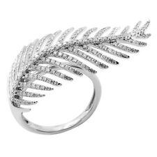 Leaf Right Hand Cocktail Fashion Ring Wide 14K White Gold Pave Diamond Feather