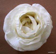 "3.5"" Cream Ranunculus Silk Flower Hair Clip,Pin Up Updo,Bridal,Rockabilly,Hat"
