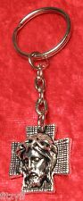 Jesus Christ Face on Cross Crucifix Key Ring Holy Religious Keyring Sacred Gift
