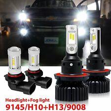 2 Pair H13 9008 LED Headlight Kit+9145 9140 Fog Lights for 2004-2014 Ford F-150