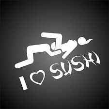 I love Sushi Funny Novelty Car Window Bumper JDM VW EURO Vinyl Decal Sticker