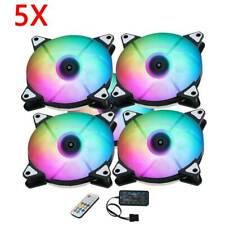 5x RGB Gehaeuseluefter 120mm PC Gehäuse Lüfter mit 7 Farben LED Gehäuselüfter