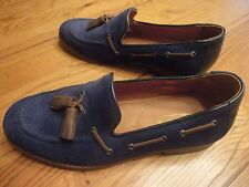 "EUC H by Hudson ""THE 1990"" Tassel Loafers BLUE Suede Sz 41 US 8.5 RARE"