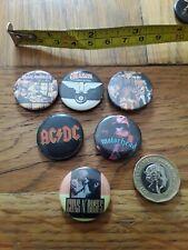 6 x 25 mm 1990s HEAVY METAL ROCK BAND MUSIC ACDC IRON MAIDEN MOTORHEAD BADGE PIN