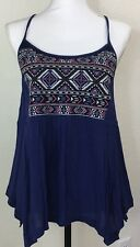 MISS ME Junior's Blue Glittery Embroidered Halter Cami Top Size S Small NWT CUTE