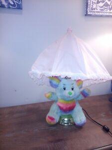 "Vintage Rainbow Teddy Bear Lamp Nursery Table Lamp Plush 19"""