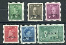 Canada KGVI 1949-50  O.H.M.S. Official set  SG.O172/7 MH