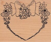 """flower heart holly berry Wood Mounted Rubber Stamp 3 x 4""""  Free Shipping"""