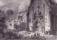 Gravure XIXe Château de Tallard Hautes Alpes Lithographie 1835