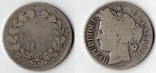 RARE MONNAIE DE 2 FRANCS CERES SANS LEGENDE EN ARGENT DE 1870 K @ BORDEAUX @ TOP