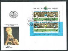 1990 SAN MARINO FDC FAIP FOGLIETTO MONDIALI CALCIO ITALIA NO TIMBRO ARRIVO EDG3