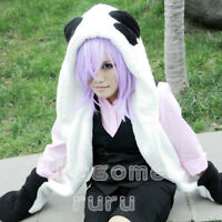 Un-Go Inga Cosplay Wig & Black Panda Plush Hat with Gloves & Tail