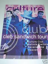 CULTURE CLUB - Club Sandwich Tour Programme - BANANARAMA Belinda Carlisle