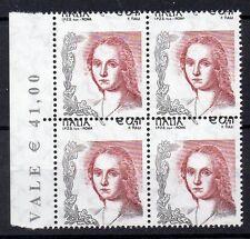 2003 REPUBBLICA LA DONNA NELL' ARTE 0,41€ VARIETA' QUARTINA INTEGRA MNH D/2518