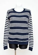 WOMENS HOLLISTER JUMPER SWEATER COTTON BLEND NAVY WHITE STRIPED SIZE M MEDIUM