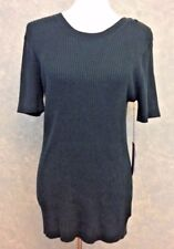 Simply Vera Wang Womens XL Sweater Tunic Ribbed Short Sleeve Dark Green NWT D62