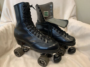 Vintage Men's HYDE Capped Toe Roller Skates Size 9 w Chicago Custom GM II Plates