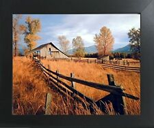 Old Wood Barn with Fence Fall Trees Scenery Wall Decor Art Print Framed Picture