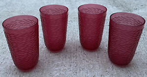 4 Drinking Cups Red Hard Plastic 20 oz Tumblers BPA FREE Opalhouse Wavy Texture