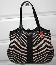 COACH Zebra Animal Print TOTE SHOULDER BAG Black/Tan Brown F24022 EUC