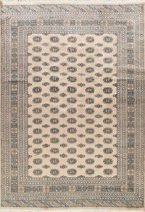 IVORY Geometric Traditional Bokhara Oriental Area Rug Hand-knotted All-Over 8x10