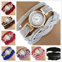 New Women Watch Bracelet Crystal Leather Dress Analog Quartz Wrist Watches 015ZL