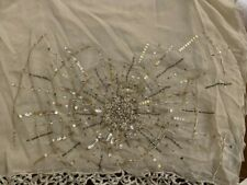 Sue Wong Shawl 100% Silk Fringed Scarf Large Silver Ivory Beige Beaded Gold #8A