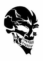 Grinning Skull Tattoo style stencil, 350 micron Mylar not thin stuff  #TaT0021