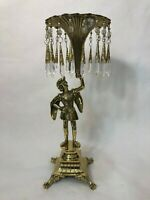 Vintage Brass French Knight Figurine Statue w/Horn Shaped Centerpiece w/Prisms