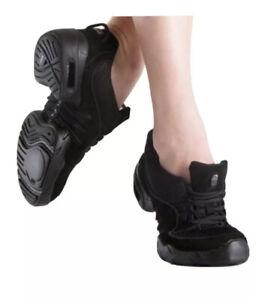 Bloch Dancing Shoes Women's Sz 4 Black Split Sole Lace Up Dance Sneakers S0538L