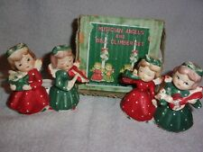 SET OF 2 MUSICIAN  CHRISTMAS ANGELS CANDLE HOLDERS + ORIG BOX ~ COMMODORE JAPAN