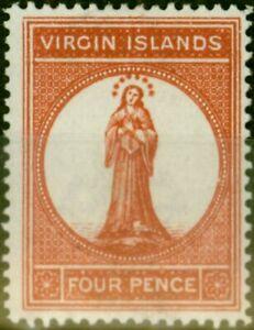 Virgin Inseln 1887 4d Braun-Rot SG37 Fein & Frisch MTD Mint