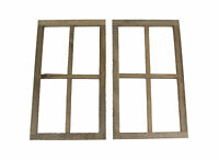 Set of 2 Distressed Wood Framed 4 Panel Wall Hangings Farmhouse Decor