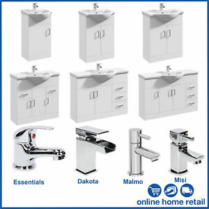 Classic White Bathroom Furniture Storage Vanity Unit and Basin Sink Taps + Waste